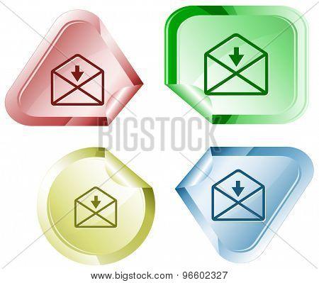 mail downarrow. Vector sticker.