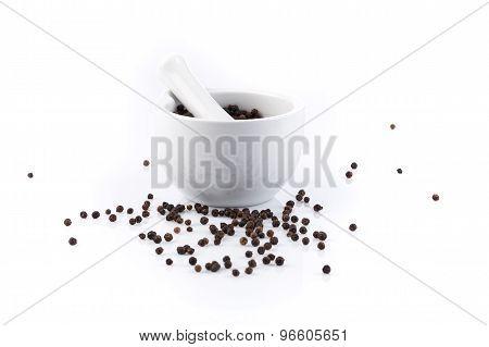 Peppercorns In Mortar And Pestle