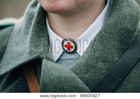 Unidentified re-enactor wears historical German Red Cross - DRK