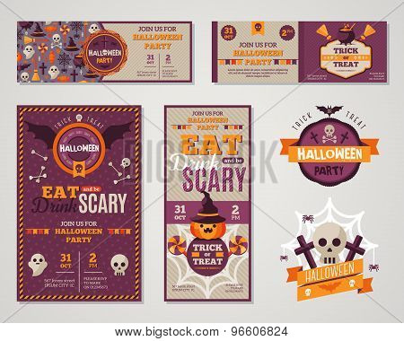 Set Of Happy Halloween Greeting Cards or Flyers.