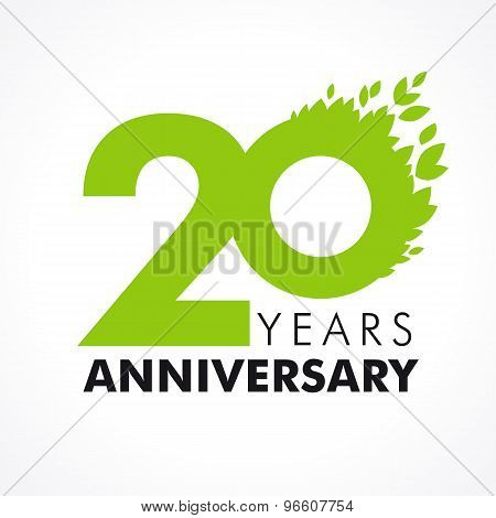 20 years old celebrating green flying leaves logo. Anniversary year of 20 th vector template. Birthday greetings celebrates. Environmental protection, natural products jubilee ages. Health care icon.