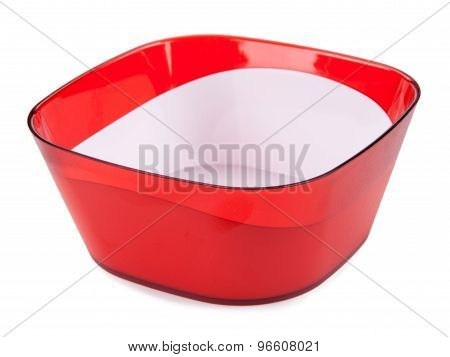 Red Pastic Bowl Isolated On White Background