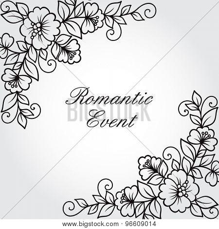 Ornamental flower background with flowers. Vintage frame.