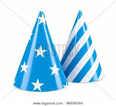 Blue Party Hat Isilated On A White Background