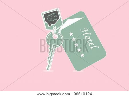 Vector Illustration Of House Key And Hotel Card