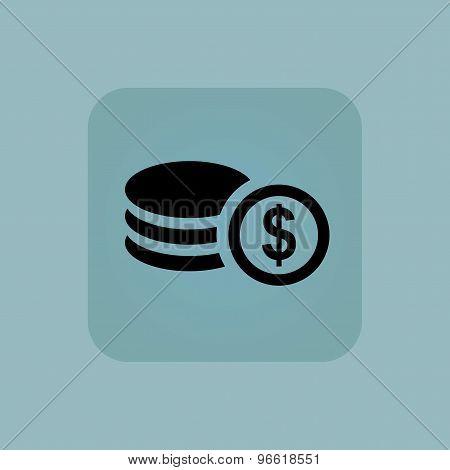 Pale blue dollar rouleau icon