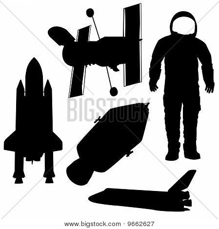 astronaut and space ships  vector