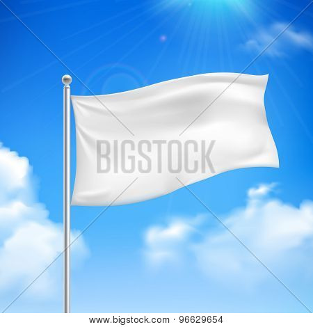 White flag blue sky background poster