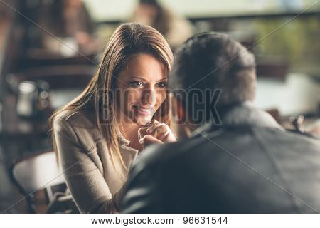 Romantic Couple Flirting At The Bar