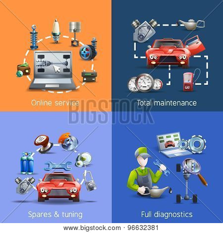 poster of Car maintenance and service cartoon icons set with spares and diagnostics isolated vector illustration