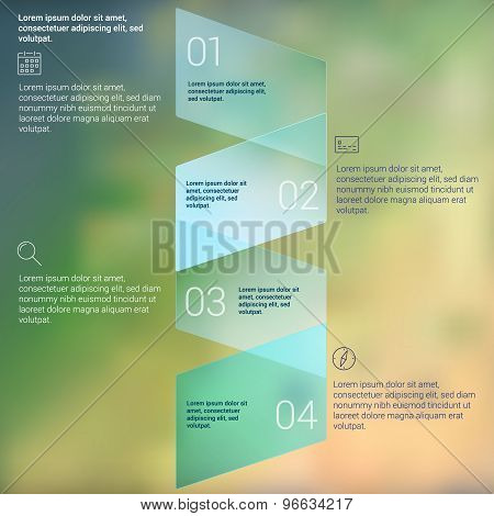 W shaped folded ribbon numbered secuence chart infographic template design