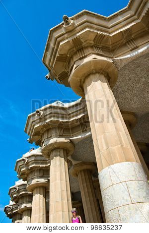 BARCELONA, SPAIN - MAY 02: Architectural detail at Parc Guell (Parc Guell) in May 02, 2015 in Barcelona, Spain.