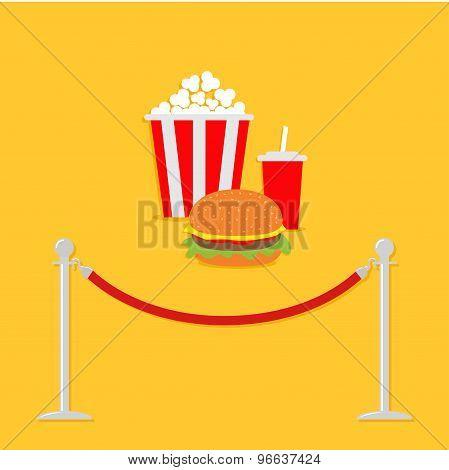 Red Rope Barrier Stanchions Turnstile Popcorn, Hamburger, Soda With Straw. Cinema Icon In Flat Desig