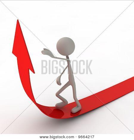 Figure walking on arrow