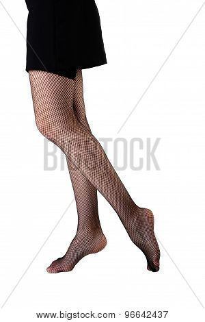 slim female legs in stockings