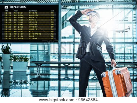 Funny business man ready for holidays wearing a scuba diving mask Travel concept