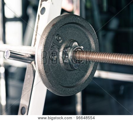 Barbell Closeup On 5 Kg Plate