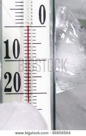 Glass thermometer for measuring of temperature and ice poster