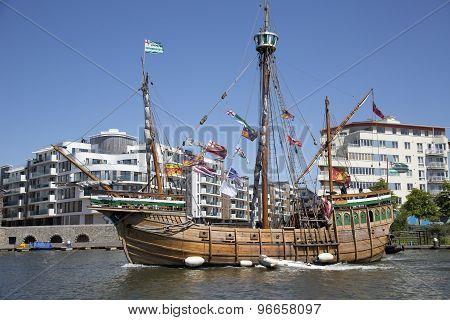 Bristol, England - July 19: The Replica Sail Ship The Matthew Ferries Passengers Around Bristol Harb