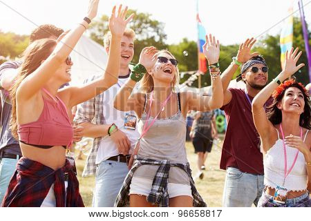 Friends cheering a performance at a music festival