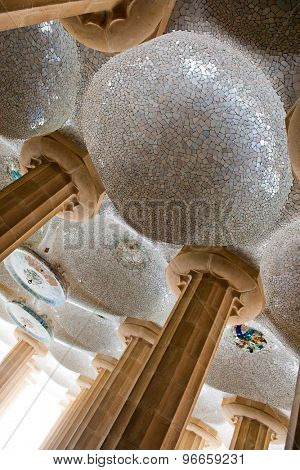 BARCELONA, SPAIN - MAY 02: Ceiling Mosaic in the Hypostyle Room at Park Guell. May 02, 2015 in Barcelona, Spain.