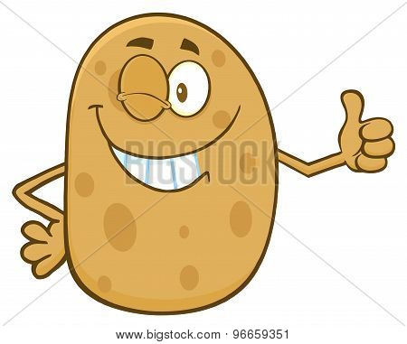 Potato Character Winking And Giving A Thumb Up