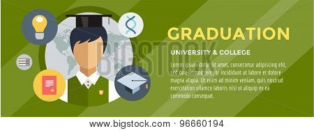 Flat student. School vector illustration. Science objects, or University and College symbols. Stock design elements.