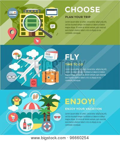 Vacation summer travel infographic. Booking, Fly and Summer. Vector stock illustrations for design