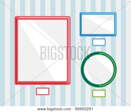 Image frames on wall. Photo, museum or empty wall, gallery, frame, advertisement and poster, paper, object. Stock design element