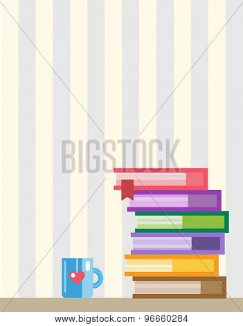 Books on desk. Back to school. Education objects, university, college symbols or knowledge, book. Stock design elements.