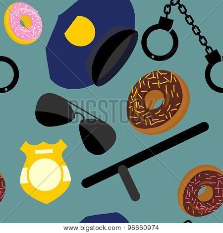 Police Set Seamless Pattern. Police Uniforms And Handcuffs. Badge And Nightstick. Vector Background.