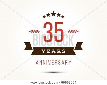 Thirty five years anniversary celebration logotype. 35th anniversary logo. Vector illustration. poster