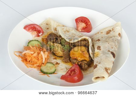 Traditional Indian Mutton Curry With Roti And Sambals