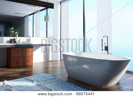 Spacious Modern Architectural Home Bathroom Interior Design with Wash Area on the Side, Bathtub at the Center and Large Glass Windows. 3d Rendering.