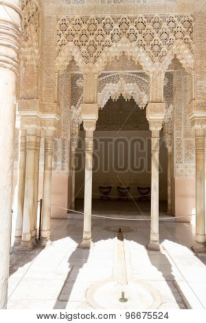 Fountain And Columns In Alhambra