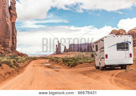 Motorhome on the road in Monument Valley Utah USA poster