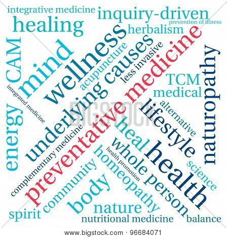 Preventative medicine word cloud on a white background. poster