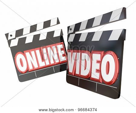 Online Video movie clappers to watch or view streaming movie content on an internet website for an audience