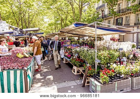 People Visit Farmers Market In Chaillot, Paris