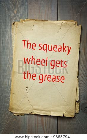 English proverb:The squeaky wheel gets the grease. 50 most important English proverbs series