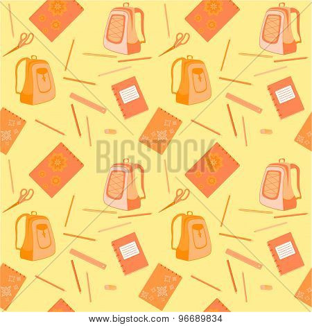 schoolbag, notebook, eraser, pencils, ruler, scissors