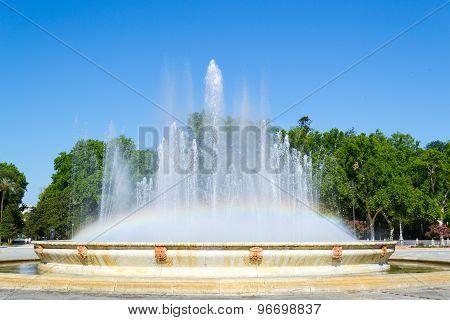 Rainbow At Spain Square Fountain
