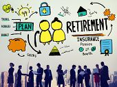 Retirement Insurance Pension Saving Plan Benefits Travel Concept poster
