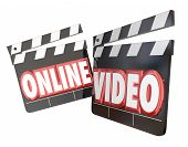 Online Video movie clappers to watch or view streaming movie content on an internet website for an audience poster