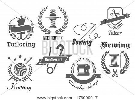 Sewing or tailor vector icons. Emblems for embroidery, tailoring or knitting needlework with sew thread in needle and thimble, scissors and wool clew, sewing machine and cloth ribbons with wreath