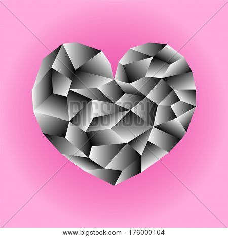 Polygonal monochrome heart vector illustration. Black and white heart icon on pink background square image. Valentine Day card or banner template. Low Poly Heart with shiny diamond effect. Love symbol
