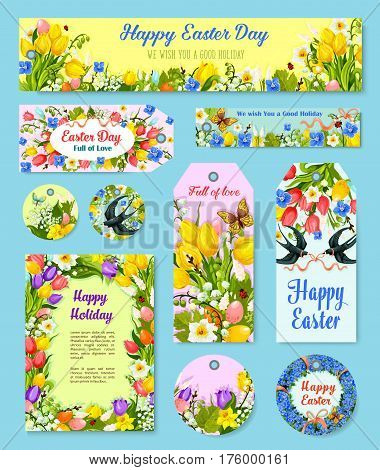 Easter egg floral tag and greeting poster set. Flower wreath frame of Easter egg and flower of tulip, lily, narcissus and snowdrop with ribbon, bow, flying swallow bird, butterfly cartoon label design