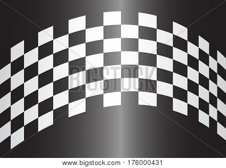 Checkered curve on gray gradient design for race background vector illustration.