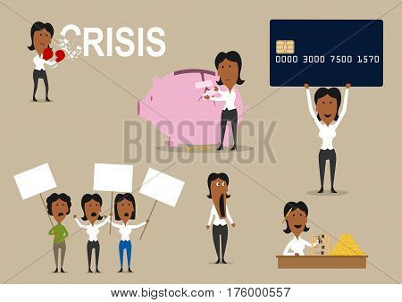 Crisis concept with people. Vector office manager shocked and saving money in piggy bank, workers on strike to demand salary, woman with credit card and boxer gloves to overcome and fight crisis