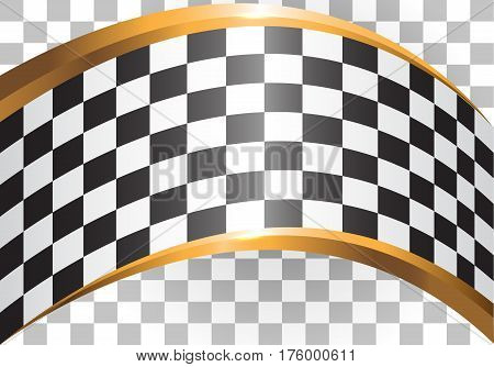 Checkered pattern and gold curve gradient design for race background vector illustration.
